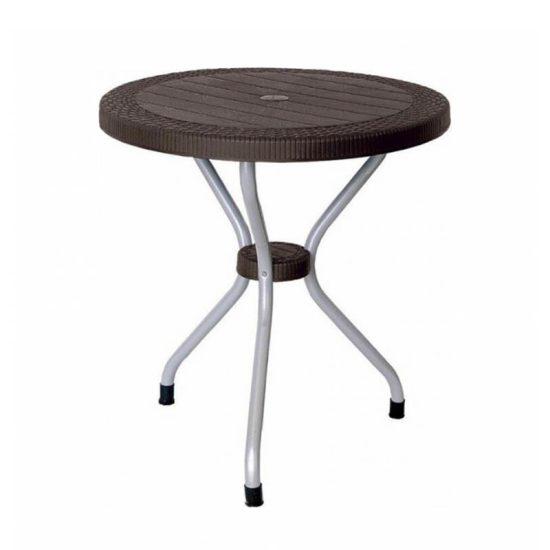 میز گرد حصیر بافت پایه فلزی