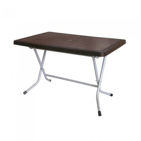میز مستطیل حصیر بافت پایه فلزی تاشو