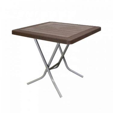 میز مربع حصیر بافت پایه فلزی تاشو