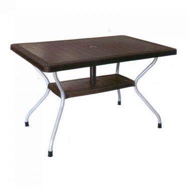 میز مستطیل حصیر بافت پایه فلزی