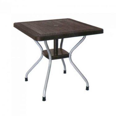 میز مربع حصیر بافت پایه فلزی