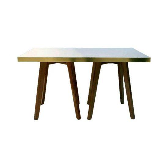 میز با پایه چوبی استیل هامون