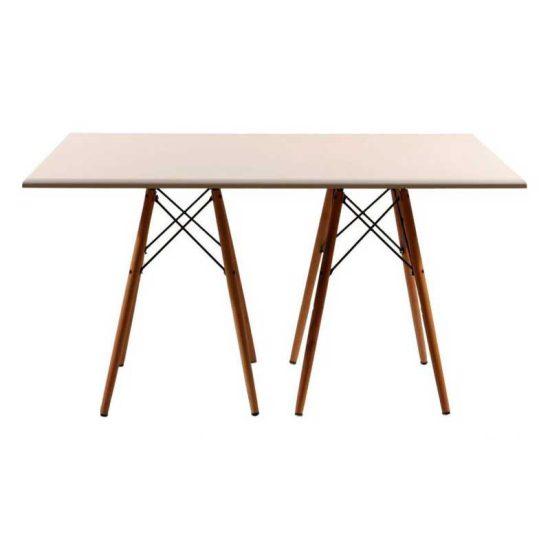 میز شش نفره چهارگوش پایه چوبی ایفلی استیل هامون