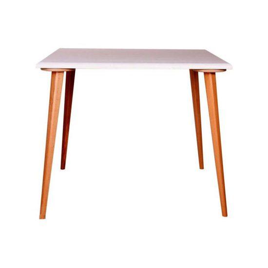 میز چهار نفره چهارگوش پایه چوبی تک استیل هامون